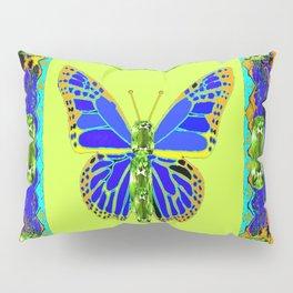 BLUE & GREEN  BUTTERFLY PERIDOT GEMMED GEOMETRIC Pillow Sham