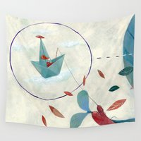 voyage Wall Tapestries featuring voyage by flaviasorr