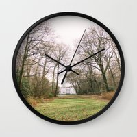 building Wall Clocks featuring Building by Golden Sabine