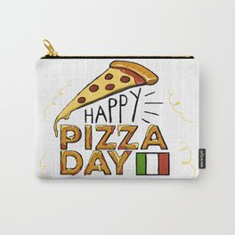 Happy National Pizza Day with Italian Flag Carry-All Pouch