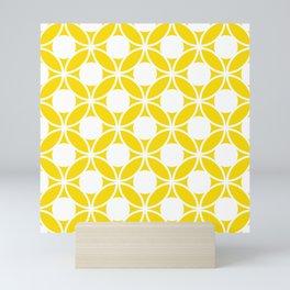 Geometric Floral Circles Summer Sun Shine White on Bright Yellow Mini Art Print