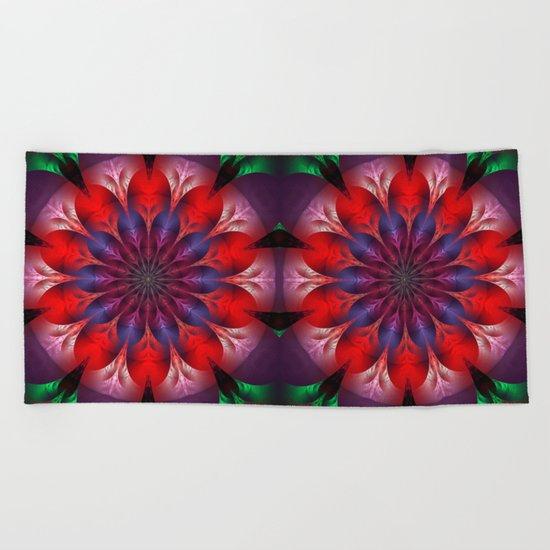 Blooming mandala Beach Towel