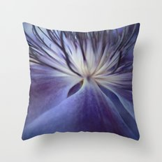 Clematis in Blue Mood Throw Pillow