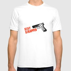 Stay Strapped White Mens Fitted Tee MEDIUM