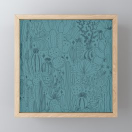 Cactus Scene in Blue Framed Mini Art Print