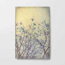 Dogwood Tree in Flower -- Duotone Indigo and Burnished Bronze with Antique Edges Metal Print