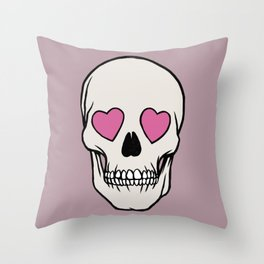 Heart Skull Emoji Throw Pillow