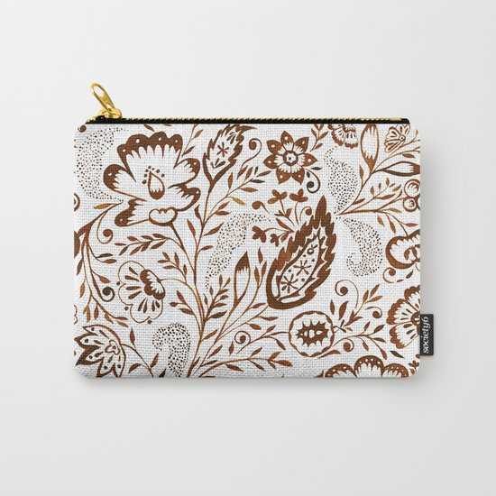 Folk Floral Brown Carry-All Pouch