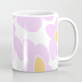Pink Retro Flowers on White Background #decor #society6 #buyart Coffee Mug