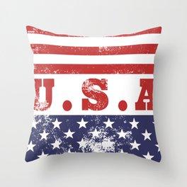 USA Patriotic Rubber Stamp Icon Throw Pillow