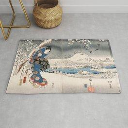 Japanese Vintage Kunisada Hiroshige Snowy Landscape Rug