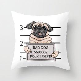 mugshot dog cartoon. Throw Pillow