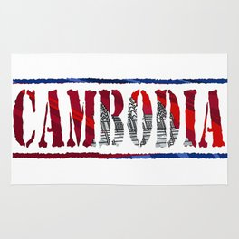 Cambodia Font with Cambodian Flag Rug