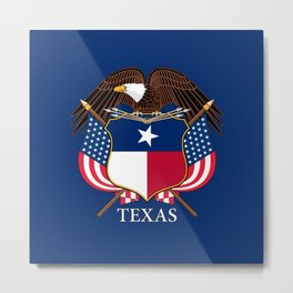 Texas flag and eagle crest concept Metal Print