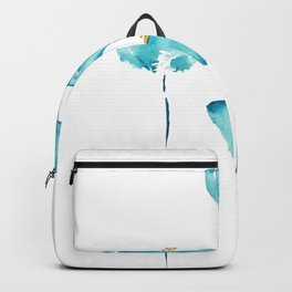 blue poppy watercolor Backpack