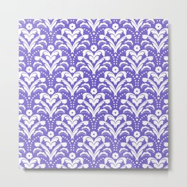 Art Deco Damask Purple and White Metal Print