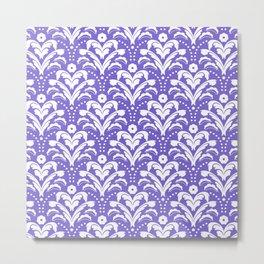 Art Deco Damask Purple and White Metal Print