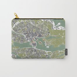 Stockholm city map engraving Carry-All Pouch