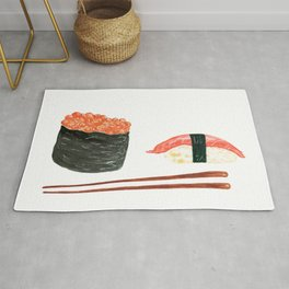 Watercolor Sushi Rolls And Chopsticks Rug