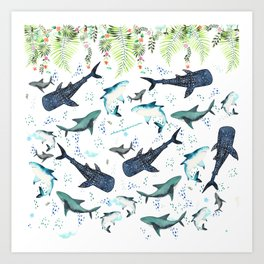 floral shark pattern Art Print