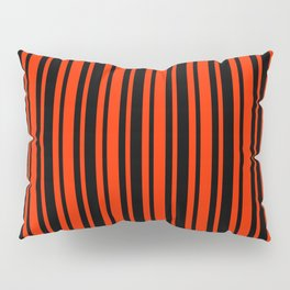 Bright Red and Black Vertical Var Size Stripes Pillow Sham