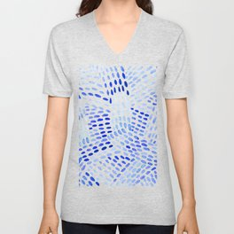 Watercolor dotted lines - blue Unisex V-Neck