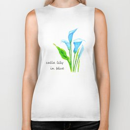 blue calla lily 2 Biker Tank
