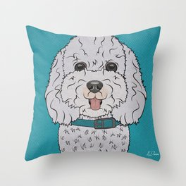 Icons of the Dog Park Bichon Frise  Design in Bold Colors for Pet Lovers Throw Pillow