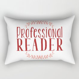 Professional Reader - White w Red Rectangular Pillow