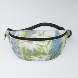 Watercolor Botanical Garden Flower Wildflower Blue Flower Garden Fanny Pack