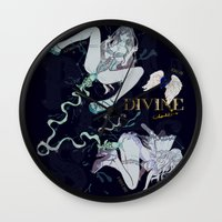 pisces Wall Clocks featuring PISCES by Chandelina