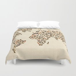 Cats Map of the World Map Duvet Cover