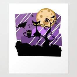 Scary Witch Cat Art Print