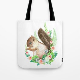 squirrel with flowers Tote Bag