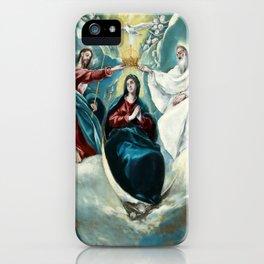 """El Greco (Domenikos Theotokopoulos) """"The Coronation of the Virgin (1592)"""" iPhone Case"""