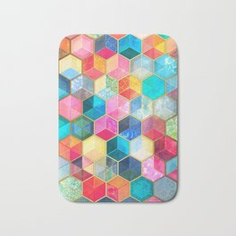 Crystal Bohemian Honeycomb Cubes - colorful hexagon pattern Bath Mat
