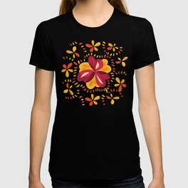 Orange And Pink Clover Abstract Floral T-shirt