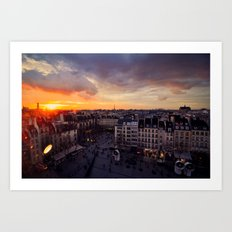 Paris Skyline Sunset Art Print