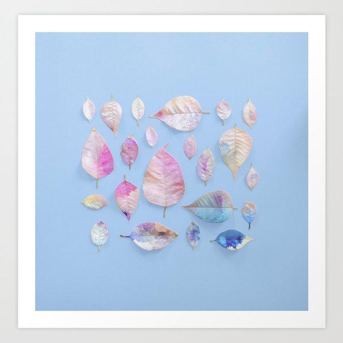 Water Colour Leaves Art Print