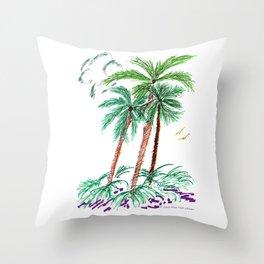 """Triplet Palms"" Throw Pillow"