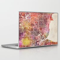 detroit Laptop & iPad Skins featuring Detroit by MapMapMaps.Watercolors