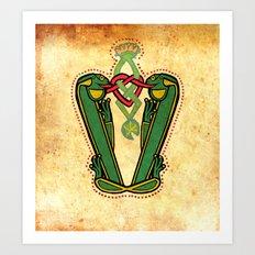 Medieval Frog Letter V Vintage 2017 Art Print