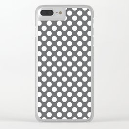 White on gray polka dots Clear iPhone Case