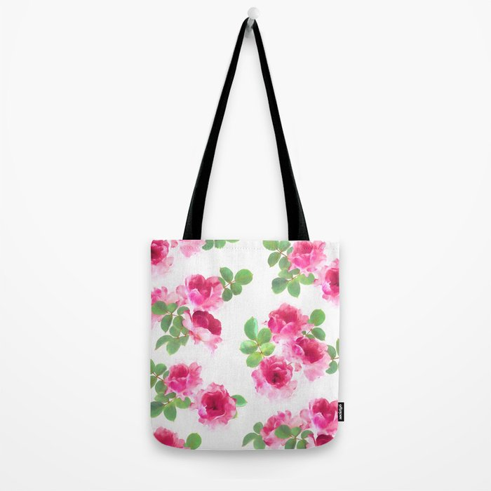 Raspberry Pink Painted Roses on White Tote Bag