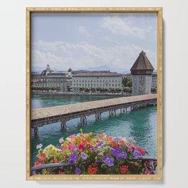 Balcony View of Chapel Bridge, Lucerne, Switzerland Serving Tray