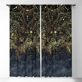 Stylish Gold floral mandala and confetti Blackout Curtain