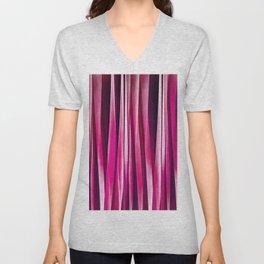 Burgundy Rose Stripy Lines Pattern Unisex V-Neck