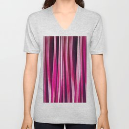 Burgundy Rose Stripy Lines Pattern Unisex V-Neck