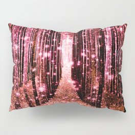 Magical Forest Vibrant Pink Living Coral Pillow Sham