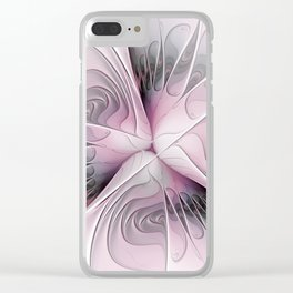 Fantasy Flower, Pink And Gray Fractal Art Clear iPhone Case